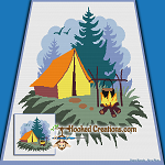 Camp Site SC (Single Crochet) Throw Blanket Graphghan Crochet Pattern - PDF Download