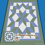Carpenter Star TSS (Tunisian Simple Stitch) Left Handed Throw Blanket Graphghan Crochet Pattern - PDF Download