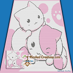Chibi Kitties SC (Single Crochet) Throw Blanket Graphghan Crochet Pattern - PDF Download