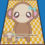 Chibi Monkey SC (Single Crochet) Baby Blanket Graphghan Crochet Pattern - PDF Download