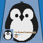 Chubby Little Penguin Mini C2C (Modified Corner to Corner) Baby Blanket Graphghan Crochet Pattern - PDF Download