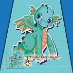 Cutey Dragon SC (Single Crochet) Baby Blanket Graphghan Crochet Pattern - PDF Download