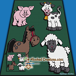 Down on the Farm SC  (Single Crochet) Throw Blanket Graphghan Crochet Pattern - PDF Download