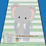 Elenor the Elephant SC (Single Crochet) Baby Blanket Graphghan Crochet Pattern - PDF Download