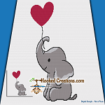 Elephant Heart Balloon SC (Single Crochet) Throw Blanket Graphghan Crochet Pattern - PDF Download