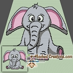 Ellie the Elephant TSS (Tunisian Simple Stitch) - Right Handed Baby Blanket Graphghan Crochet Pattern - PDF Download