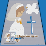 First Communion SC (Single Crochet) Throw Blanket Graphghan Crochet Pattern - PDF Download