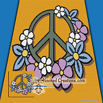 Floral Peace SC (Single Crochet) Throw Blanket Graphghan Crochet Pattern - PDF Download