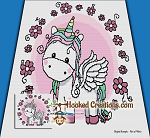 Flower Unicorn Mini C2C (Modified Corner to Corner) King Blanket Graphghan Crochet Pattern - PDF Download
