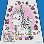 Flower Unicorn SC (Single Crochet) Throw Blanket Graphghan Crochet Pattern - PDF Download