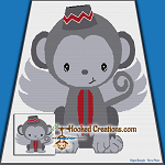 Flying Monkey SC (Single Crochet) Throw Sized Blanket Graphghan Crochet Pattern - PDF Download