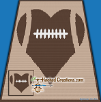 For the Love of Football Mini C2C (Modified Corner to Corner) Throw Size Blanket Graphghan Crochet Pattern - PDF Download