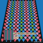 Hearts TSS (Tunisian Simple Stitch) Right Handed Throw Blanket Graphghan Crochet Pattern - PDF Download