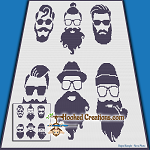 Hipster Beards SC (Single Crochet) Throw Blanket Graphghan Crochet Pattern - PDF Download
