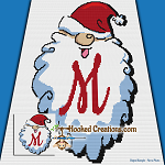 HoHoHo Alphabet-M SC (Single Crochet) Baby Blanket Graphghan Crochet Pattern - PDF Download