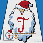 HoHoHo Alphabet-T SC (Single Crochet) Baby Blanket Graphghan Crochet Pattern - PDF Download