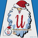 HoHoHo Alphabet-U SC (Single Crochet) Baby Blanket Graphghan Crochet Pattern - PDF Download