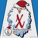 HoHoHo Alphabet-X SC (Single Crochet) Baby Blanket Graphghan Crochet Pattern - PDF Download
