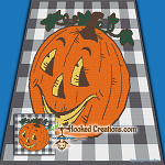 Jack-O-Lantern SC (Single Crochet) Throw Blanket Graphghan Crochet Pattern - PDF Download