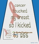 Kicked Breast Cancer Ass Mini C2C (Modified Corner to Corner) Throw Blanket Graphghan Crochet Pattern - PDF Download