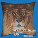 Lion SC (Single Crochet) Throw Pillow Graphghan Crochet Pattern - PDF Download