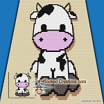 Little Cow C2C (Corner to Corner) Throw Blanket Graphghan Crochet Pattern - PDF Download