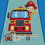 Little Fireman SC (Single Crochet) Throw Blanket Graphghan Crochet Pattern - PDF Download