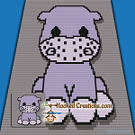 Little Hippo C2C (Corner to Corner) Throw Blanket Graphghan Crochet Pattern - PDF Download