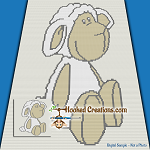 Little Lamb TSS (Tunisian Simple Stitch) Right Handed Baby Blanket Graphghan Crochet Pattern - PDF Download