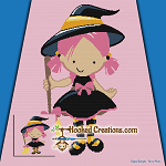Little Witch SC (Single Crochet) Throw Blanket Graphghan Crochet Pattern - PDF Download