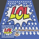 LOL Pop Art Mini C2C (Modified Corner to Corner) Throw Blanket Graphghan Crochet Pattern - PDF Download