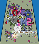 Love Me SC (Single Crochet) Full Sized Blanket Graphghan Crochet Pattern - PDF Download