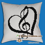 Love Of Music SC (Single Crochet) Throw Pillow Graphghan Crochet Pattern - PDF Download