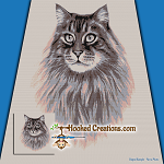 Maine Coon SC (Single Crochet) Throw Blanket Graphghan Crochet Pattern - PDF Download