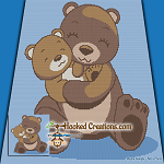 Mama Bear Snuggles SC (Single Crochet) Throw Blanket Graphghan Crochet Pattern - PDF Download