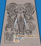 Mandala Elephant SC (Single Crochet) Queen Sized Blanket Graphghan Crochet Pattern - PDF Download