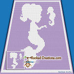 Mermaid Friends C2C (Corner to Corner) Throw Blanket Graphghan Crochet Pattern - PDF Download