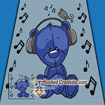 Musical Teddy SC (Single Crochet) Throw Blanket Graphghan Crochet Pattern - PDF Download