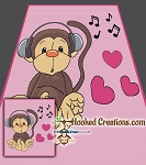 Musical Monkey SC (Single Crochet) Full Size Blanket Graphghan Crochet Pattern - PDF Download