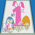 My First Easter TSS (Tunisian Simple Stitch) Left Handed Baby Blanket Graphghan Crochet Pattern - PDF Download