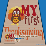 My First Thanksgiving SC (Single Crochet) Baby Blanket Graphghan Crochet Pattern - PDF Download