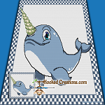 Narwhal SC (Single Crochet) Throw Blanket Graphghan Crochet Pattern - PDF Download