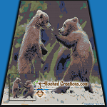 Ninja Bears SC (Single Crochet) Throw Blanket Graphghan Crochet Pattern - PDF Download