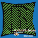 OPTICAL ALPHABET – B SC (Single Crochet) Throw Pillow Graphghan Crochet Pattern - PDF Download