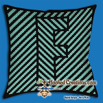 OPTICAL ALPHABET – F SC (Single Crochet) Throw Pillow Graphghan Crochet Pattern - PDF Download