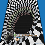 Optical Black Hole Mini C2C (Modified Corner to Corner) Throw Blanket Graphghan Crochet Pattern - PDF Download