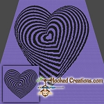 Optical Heart SC (Single Crochet) Throw Sized Blanket Graphghan Crochet Pattern