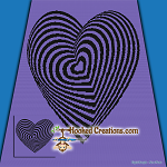 Optical Heart SC (Single Crochet) Throw Sized Blanket Graphghan Crochet Pattern - PDF Download