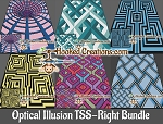 Optical Illusion TSS (Tunisian Simple Stitch) - Right Handed Bundle Graphghan Crochet Patterns - PDF Download