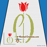 Parkinson's Red Tulip Logo Mini C2C (Modified Corner to Corner) Throw Blanket Graphghan Crochet Pattern - PDF Download